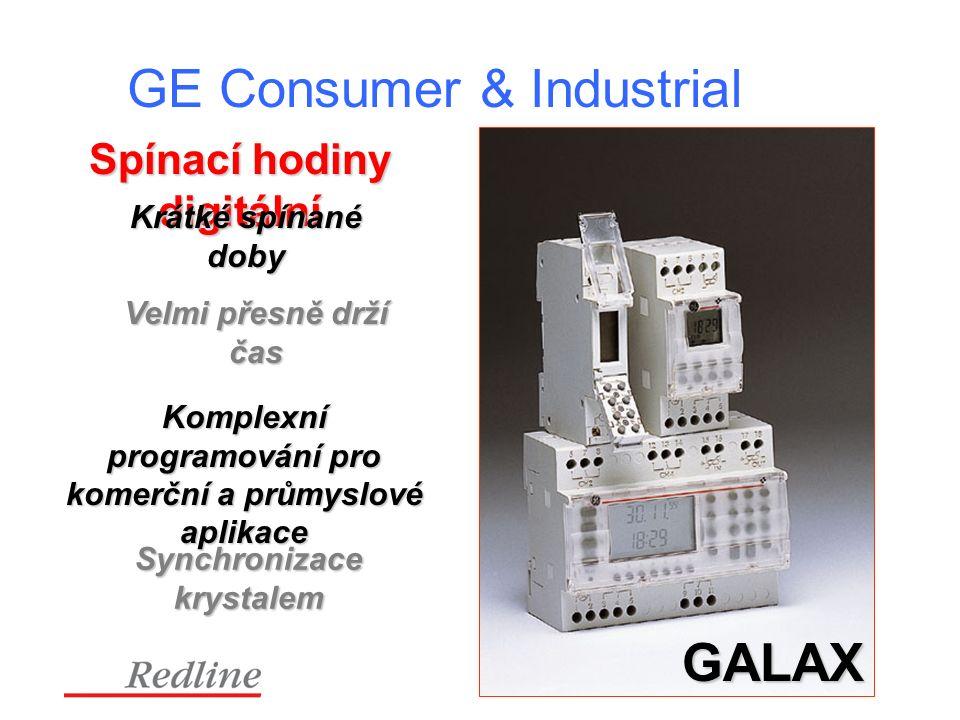 GE Consumer & Industrial Spínací hodiny digitální GALAX Krátké spínané doby Komplexní programování pro komerční a průmyslové aplikace Velmi přesně drží čas Synchronizacekrystalem