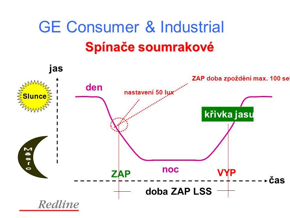 GE Consumer & Industrial jas čas den noc doba ZAP LSS nastavení 50 lux ZAP doba zpoždění max.