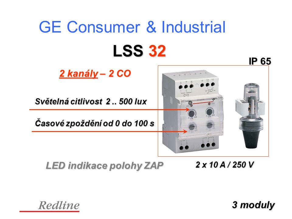 GE Consumer & Industrial LSS 32 2 kanály – 2 CO LED indikace polohy ZAP 3 moduly IP 65 Světelná citlivost 2..