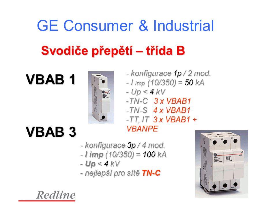 GE Consumer & Industrial Svodiče přepětí – třída B VBAB 1 - konfigurace 1p / 2 mod.