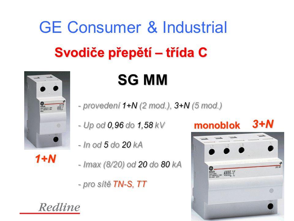 GE Consumer & Industrial Svodiče přepětí – třída C 1+N 3+N monoblok SG MM - provedení 1+N (2 mod.), 3+N (5 mod.) - Up od 0,96 do 1,58 kV - In od 5 do 20 kA - Imax (8/20) od 20 do 80 kA - pro sítě TN-S, TT