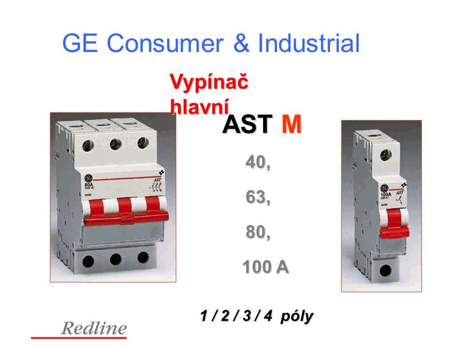 GE Consumer & Industrial Vypínač hlavní AST M 1 / 2 / 3 / 4 póly 40, 63, 80, 100 A