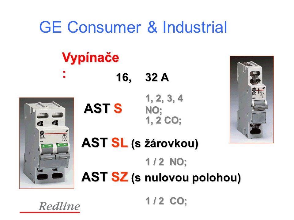 GE Consumer & Industrial Vypínače : AST S 16, 32 A 1, 2, 3, 4 NO; AST SL (s žárovkou) 1 / 2 NO; AST SZ (s nulovou polohou) 1, 2 CO; 1 / 2 CO;