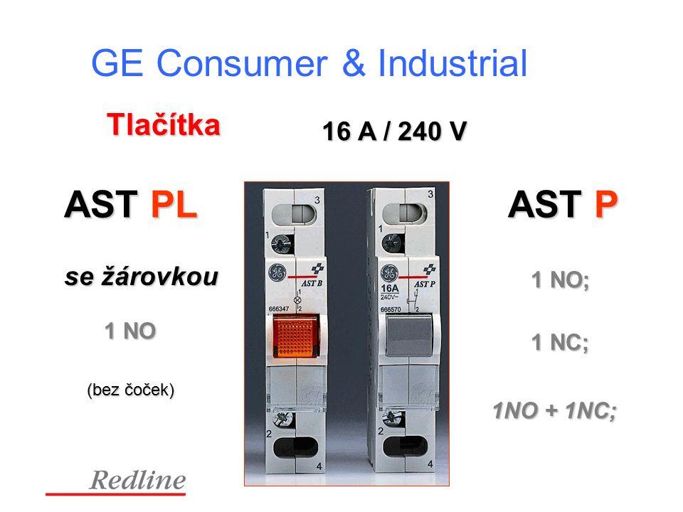 GE Consumer & Industrial Tlačítka 16 A / 240 V AST P 1 NO; 1 NC; 1NO + 1NC; AST PL se žárovkou 1 NO (bez čoček)