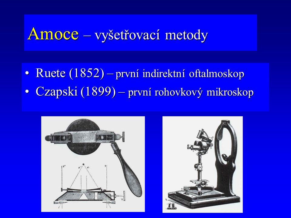 Ruete (1852) – první indirektní oftalmoskopRuete (1852) – první indirektní oftalmoskop Czapski (1899) – první rohovkový mikroskopCzapski (1899) – prvn