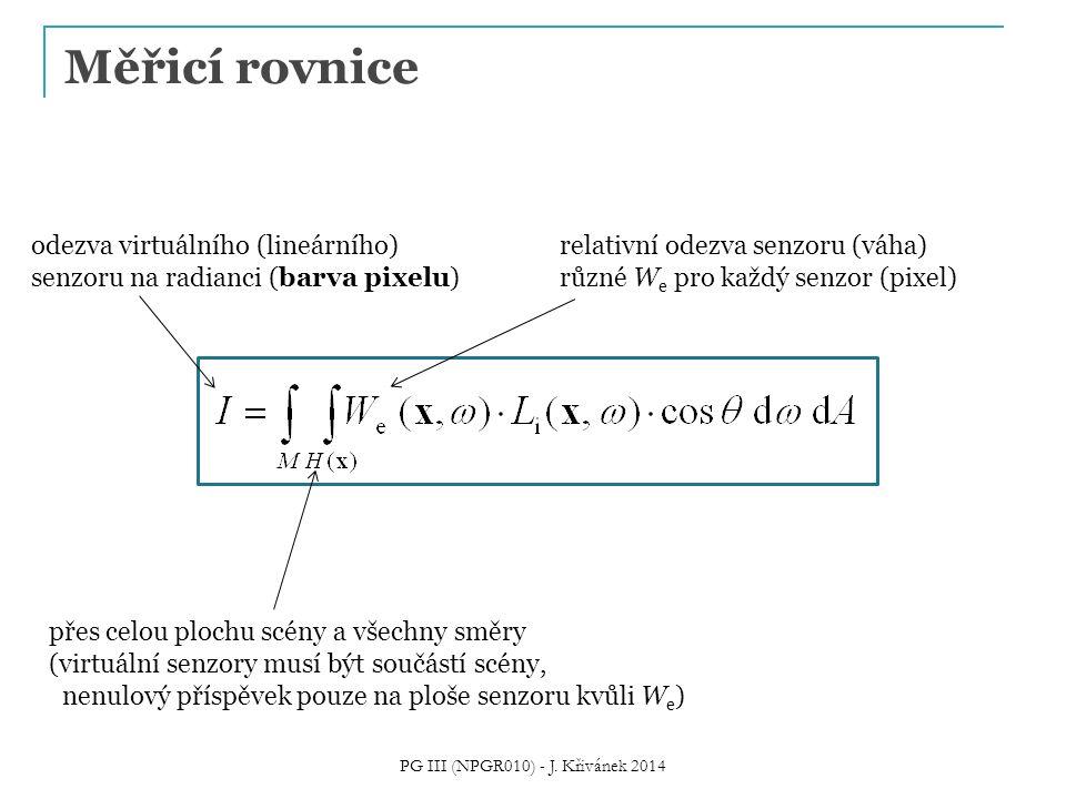 Měřicí rovnice PG III (NPGR010) - J. Křivánek 2014 odezva virtuálního (lineárního) senzoru na radianci (barva pixelu) přes celou plochu scény a všechn