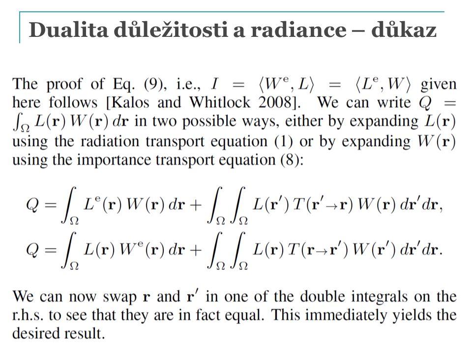 Dualita důležitosti a radiance – důkaz PG III (NPGR010) - J. Křivánek 2014