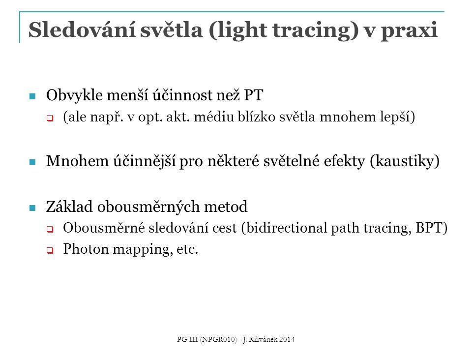 Sledování světla (light tracing) v praxi Obvykle menší účinnost než PT  (ale např. v opt. akt. médiu blízko světla mnohem lepší) Mnohem účinnější pro