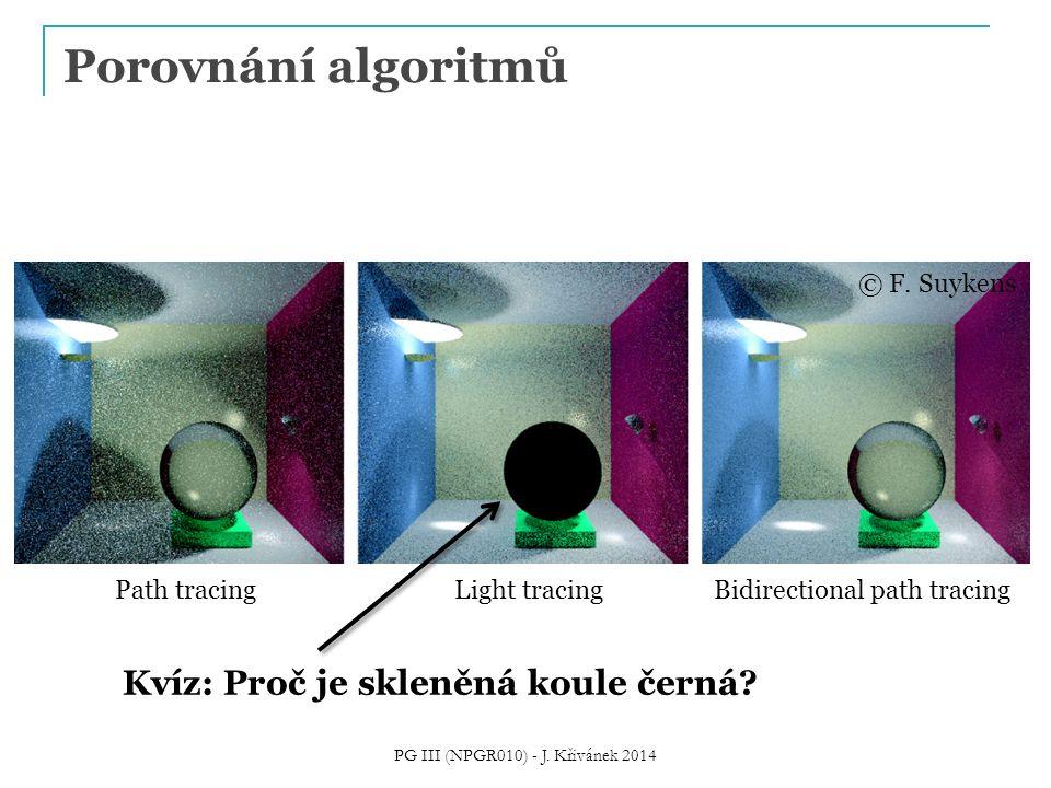 Porovnání algoritmů PG III (NPGR010) - J. Křivánek 2014 © F. Suykens Path tracingLight tracingBidirectional path tracing Kvíz: Proč je skleněná koule