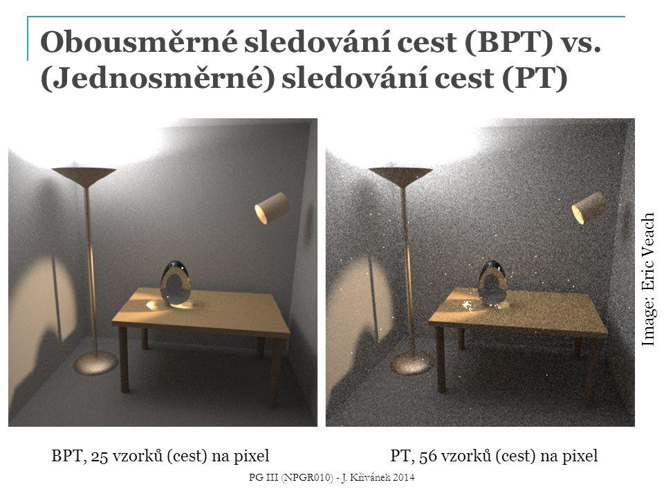 Obousměrné sledování cest (BPT) vs. (Jednosměrné) sledování cest (PT) BPT, 25 vzorků (cest) na pixelPT, 56 vzorků (cest) na pixel Image: Eric Veach PG