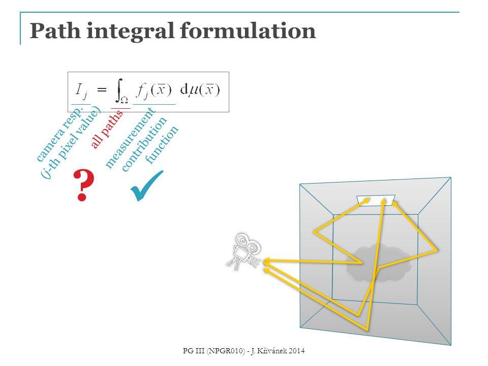 Path integral formulation camera resp. (j-th pixel value) all paths measurement contribution function ? PG III (NPGR010) - J. Křivánek 2014