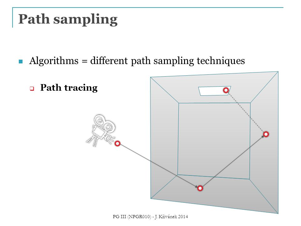 Algorithms = different path sampling techniques  Path tracing Path sampling PG III (NPGR010) - J.