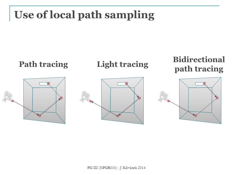 Use of local path sampling Path tracingLight tracing Bidirectional path tracing PG III (NPGR010) - J. Křivánek 2014