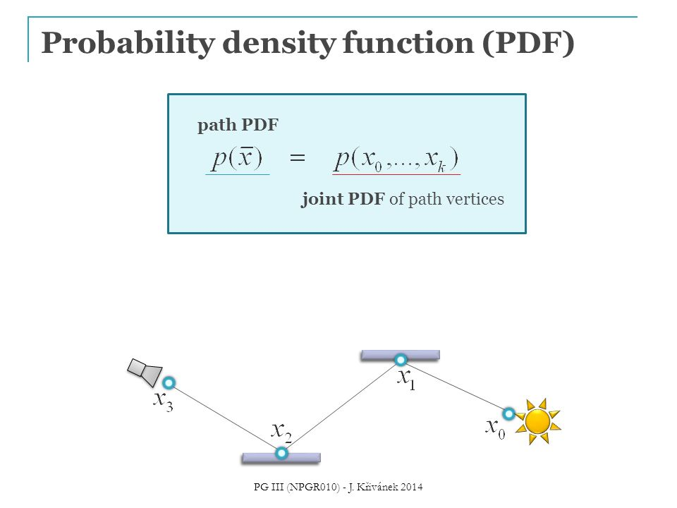 Probability density function (PDF) path PDF joint PDF of path vertices PG III (NPGR010) - J.
