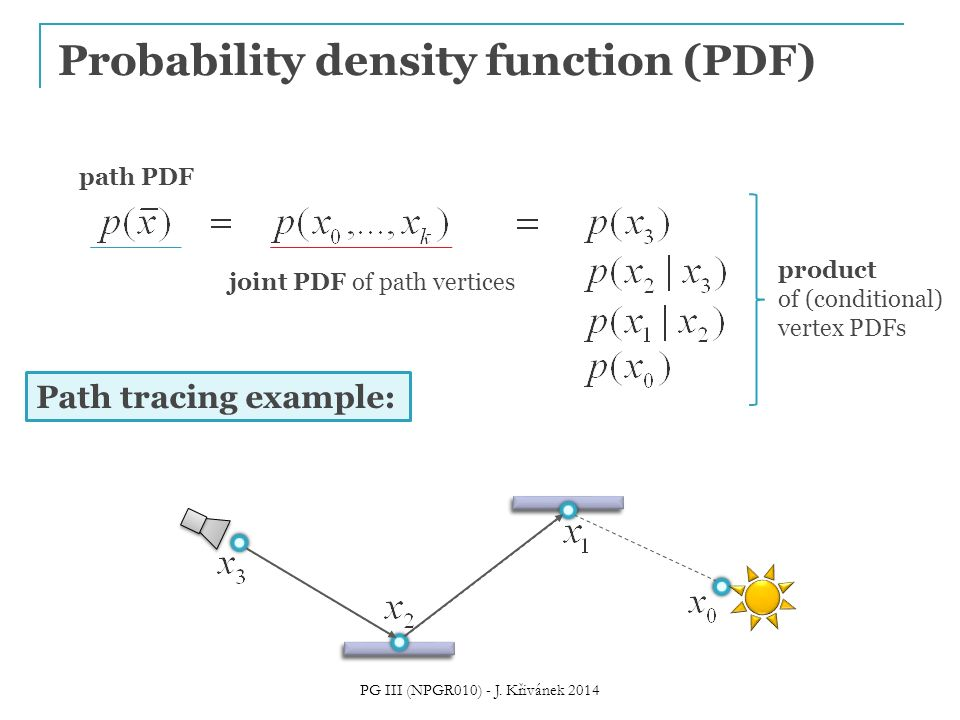 Probability density function (PDF) path PDF joint PDF of path vertices product of (conditional) vertex PDFs Path tracing example: PG III (NPGR010) - J