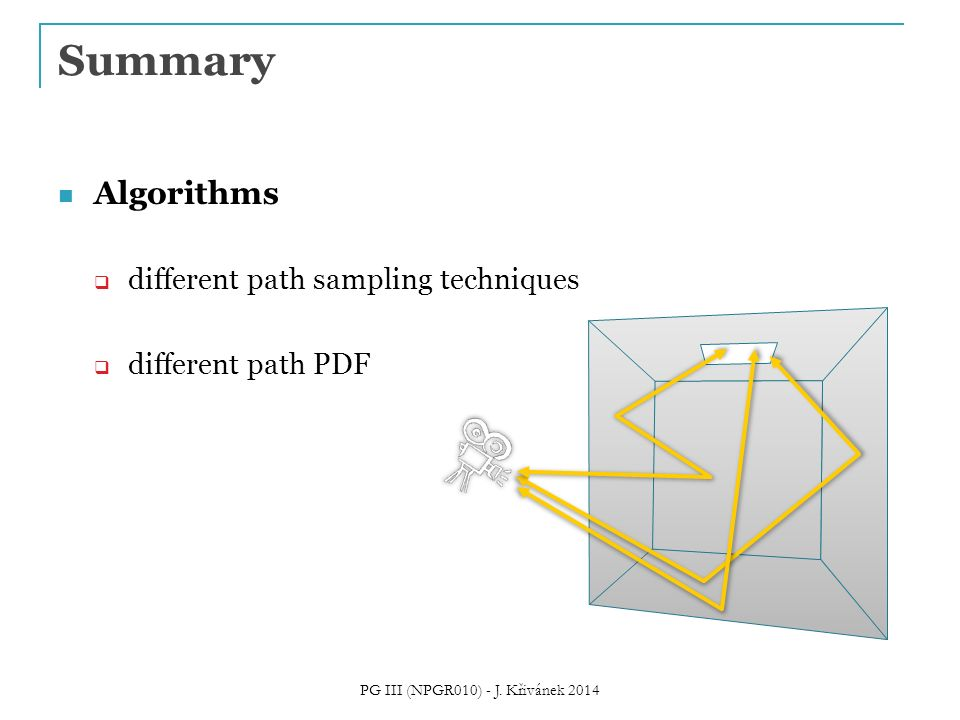 Summary Algorithms  different path sampling techniques  different path PDF PG III (NPGR010) - J.