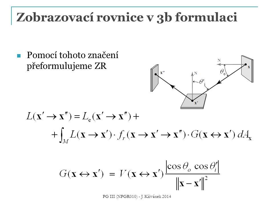 Zobrazovací rovnice v 3b formulaci Pomocí tohoto značení přeformulujeme ZR PG III (NPGR010) - J. Křivánek 2014