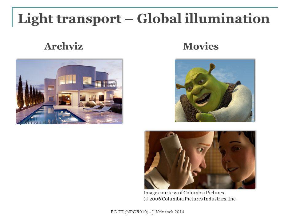 Light transport – Global illumination Movies 2002, Shrek 2 (PDI/Dreamworks)  1 bounce indirect Image courtesy of Columbia Pictures.