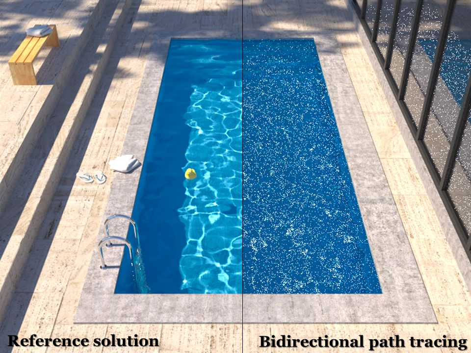 Insufficient path sampling techniques Reference solution Bidirectional path tracing