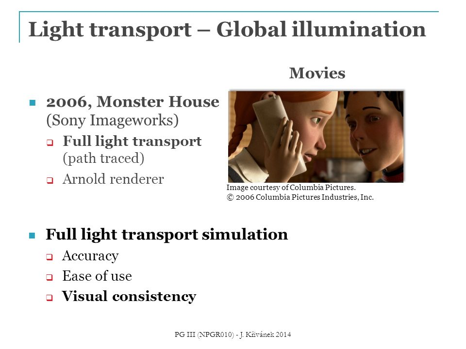 Full light transport simulation  Accuracy  Ease of use  Visual consistency Light transport – Global illumination More information The State of Rendering PG III (NPGR010) - J.