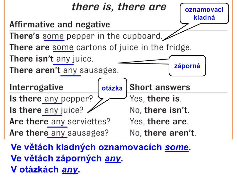 oznamovací kladná záporná otázka Ve větách kladných oznamovacích some.