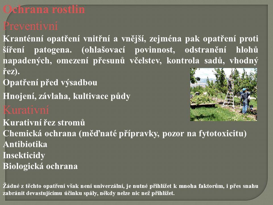 Ochrana rostlin Preventivní Kranténní opatření vnitřní a vnější, zejména pak opatření proti šíření patogena. (ohlašovací povinnost, odstranění hlohů n