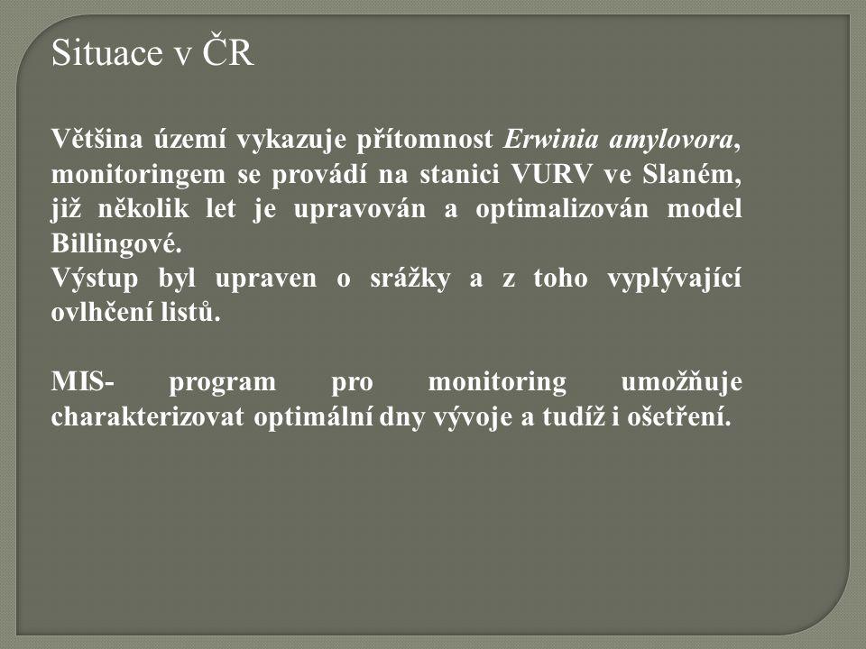 Situace v ČR Většina území vykazuje přítomnost Erwinia amylovora, monitoringem se provádí na stanici VURV ve Slaném, již několik let je upravován a op