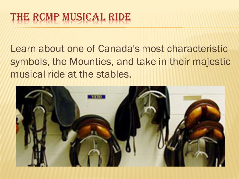 Learn about one of Canada's most characteristic symbols, the Mounties, and take in their majestic musical ride at the stables.