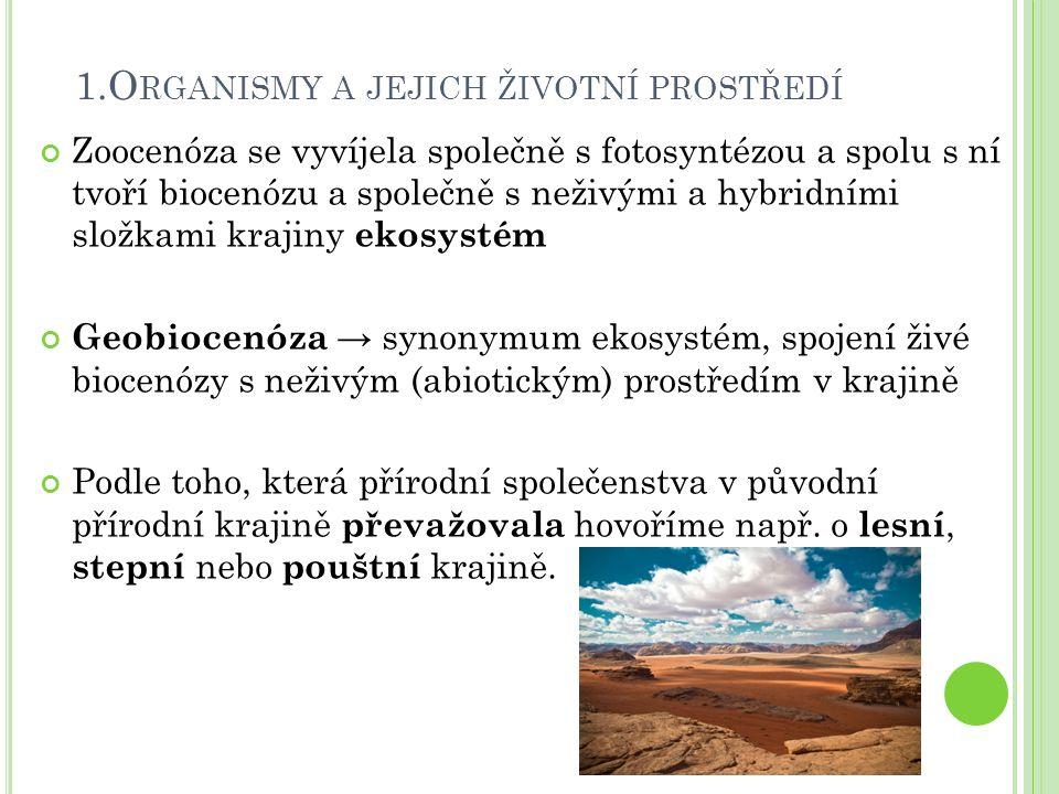 1.O RGANISMY A JEJICH ŽIVOTNÍ PROSTŘEDÍ Zoocenóza se vyvíjela společně s fotosyntézou a spolu s ní tvoří biocenózu a společně s neživými a hybridními složkami krajiny ekosystém Geobiocenóza → synonymum ekosystém, spojení živé biocenózy s neživým (abiotickým) prostředím v krajině Podle toho, která přírodní společenstva v původní přírodní krajině převažovala hovoříme např.