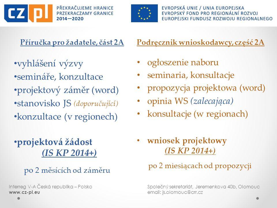 Podręcznik wnioskodawcy, część 2A ogłoszenie naboru seminaria, konsultacje propozycja projektowa (word) opinia WS (zalecająca) konsultacje (w regionac