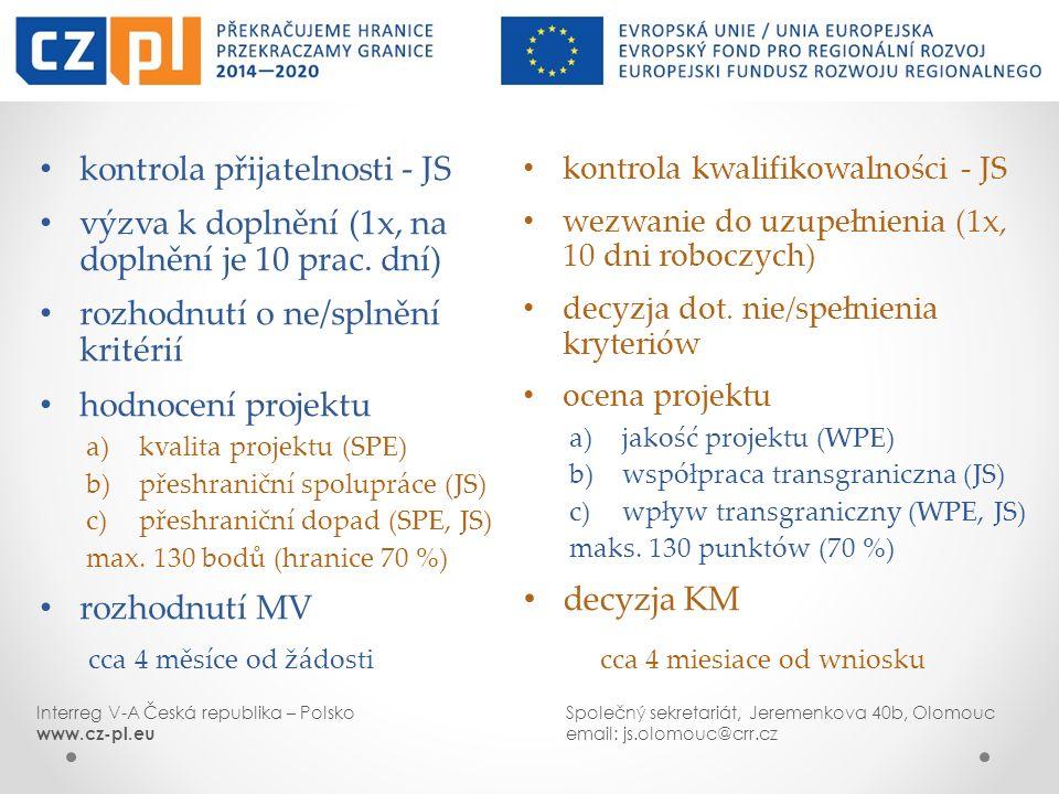 kontrola kwalifikowalności - JS wezwanie do uzupełnienia (1x, 10 dni roboczych) decyzja dot. nie/spełnienia kryteriów ocena projektu a)jakość projektu
