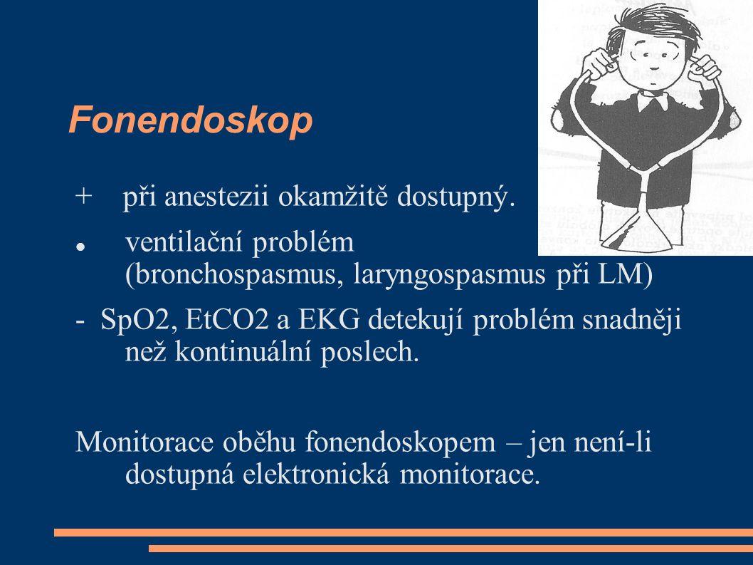 Fonendoskop + při anestezii okamžitě dostupný. ventilační problém (bronchospasmus, laryngospasmus při LM) - SpO2, EtCO2 a EKG detekují problém snadněj