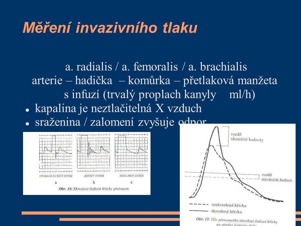 Měření invazivního tlaku a. radialis / a. femoralis / a. brachialis arterie – hadička – komůrka – přetlaková manžeta s infuzí (trvalý proplach kanyly