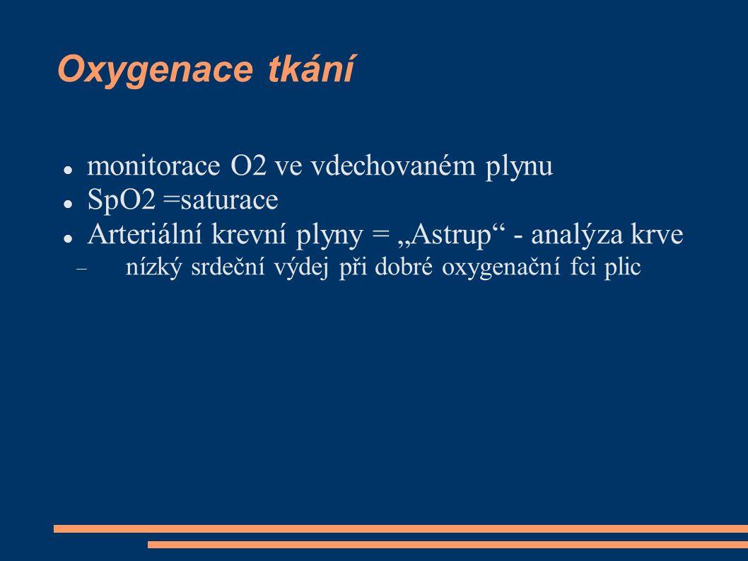 """Oxygenace tkání monitorace O2 ve vdechovaném plynu SpO2 =saturace Arteriální krevní plyny = """"Astrup"""" - analýza krve  nízký srdeční výdej při dobré ox"""