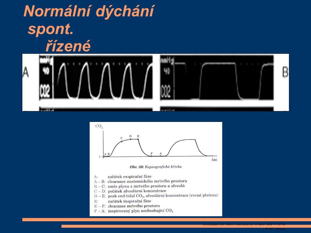 Downloaded from: Miller's Anesthesia (on 19 March 2009 11:18 PM) © 2007 Elsevier Normální dýchání spont. řízené
