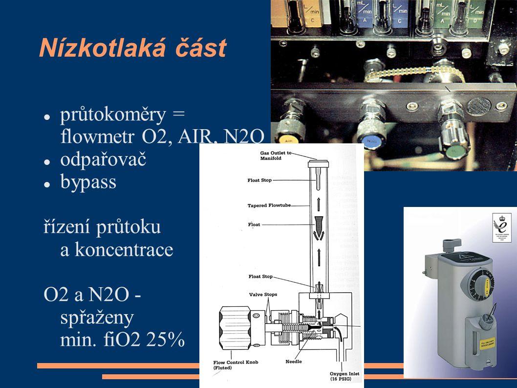 Nízkotlaká část průtokoměry = flowmetr O2, AIR, N2O odpařovač bypass řízení průtoku a koncentrace O2 a N2O - spřaženy min. fiO2 25%