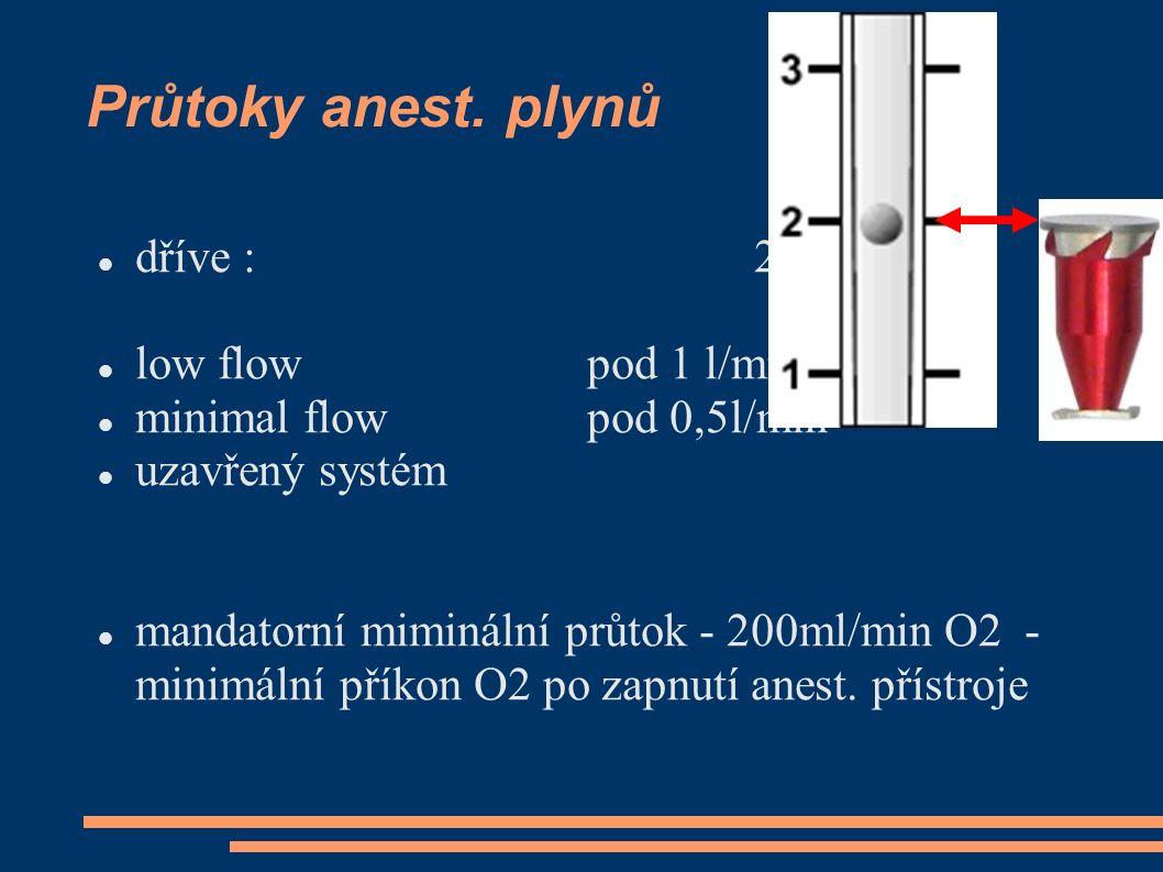 Průtoky anest. plynů dříve : 2..4 l/min low flow pod 1 l/min minimal flowpod 0,5l/min uzavřený systém mandatorní miminální průtok - 200ml/min O2 - min
