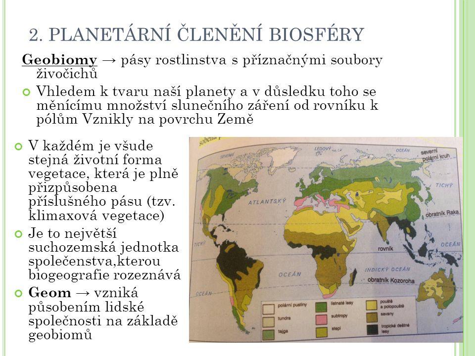 2. PLANETÁRNÍ ČLENĚNÍ BIOSFÉRY Geobiomy → pásy rostlinstva s příznačnými soubory živočichů Vhledem k tvaru naší planety a v důsledku toho se měnícímu