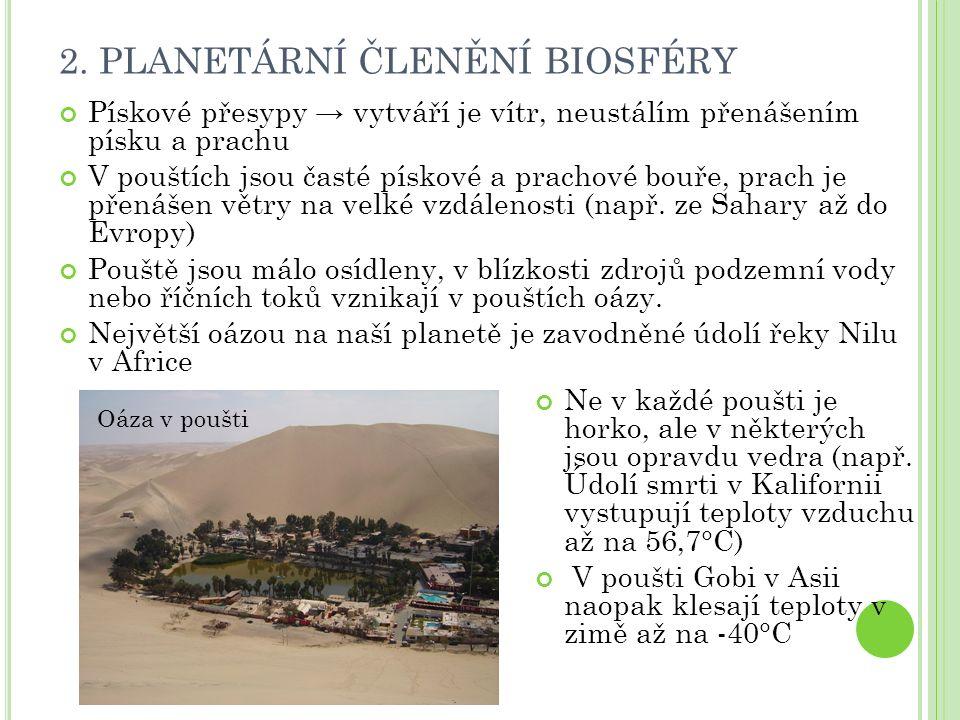 2. PLANETÁRNÍ ČLENĚNÍ BIOSFÉRY Pískové přesypy → vytváří je vítr, neustálím přenášením písku a prachu V pouštích jsou časté pískové a prachové bouře,
