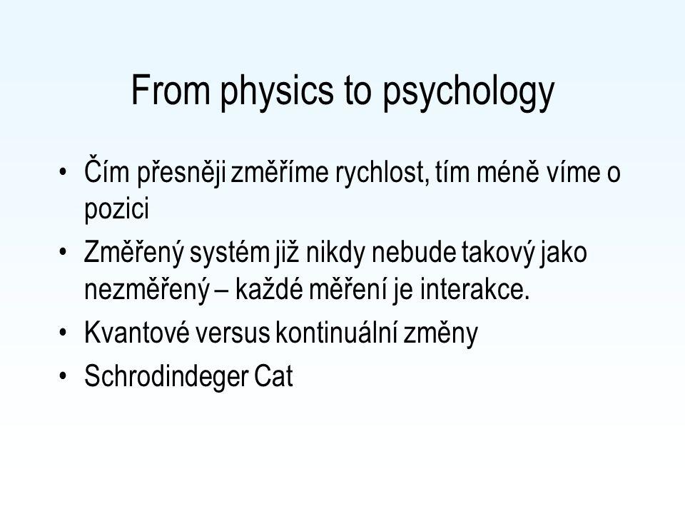 From physics to psychology Čím přesněji změříme rychlost, tím méně víme o pozici Změřený systém již nikdy nebude takový jako nezměřený – každé měření je interakce.