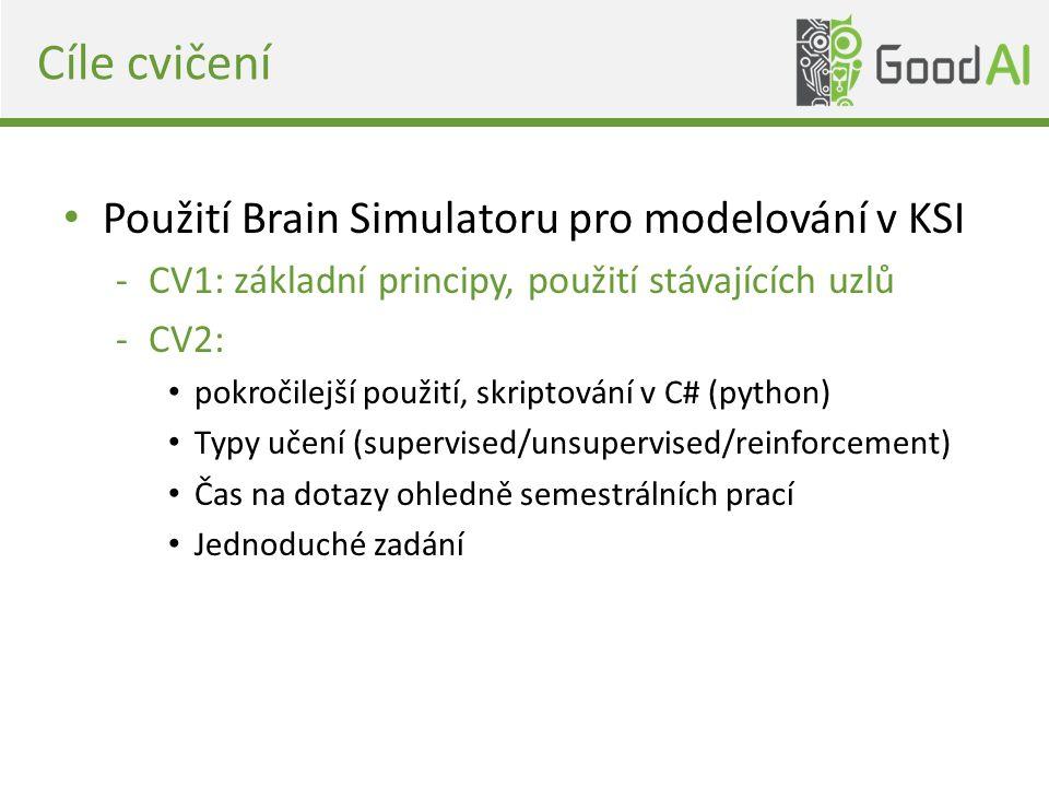 Cíle cvičení Použití Brain Simulatoru pro modelování v KSI -CV1: základní principy, použití stávajících uzlů -CV2: pokročilejší použití, skriptování v C# (python) Typy učení (supervised/unsupervised/reinforcement) Čas na dotazy ohledně semestrálních prací Jednoduché zadání