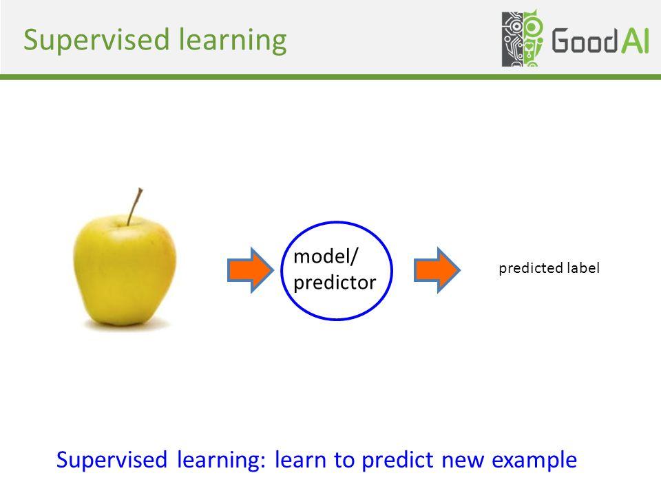 Supervised learning model/ predictor Supervised learning: learn to predict new example predicted label