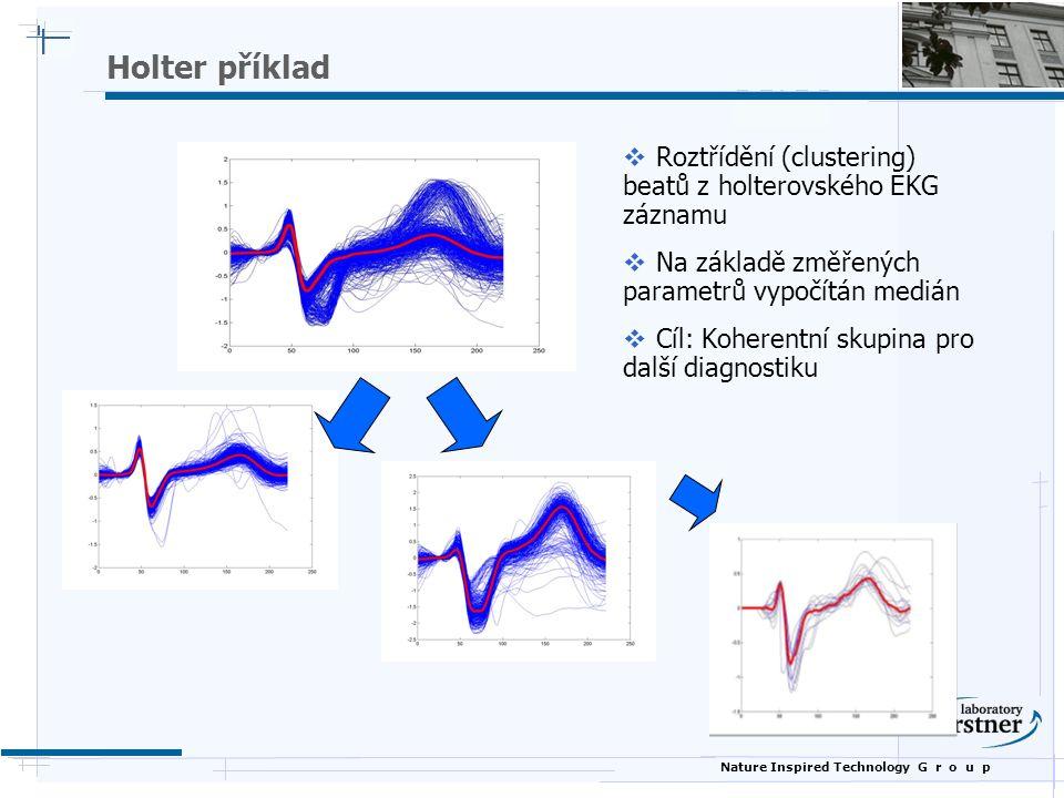 Nature Inspired Technology G r o u p Holter příklad  Roztřídění (clustering) beatů z holterovského EKG záznamu  Na základě změřených parametrů vypočítán medián  Cíl: Koherentní skupina pro další diagnostiku