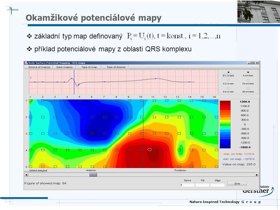 Nature Inspired Technology G r o u p  základní typ map definovaný  příklad potenciálové mapy z oblasti QRS komplexu Okamžikové potenciálové mapy
