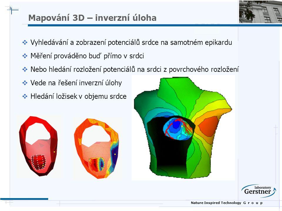Nature Inspired Technology G r o u p Mapování 3D – inverzní úloha  Vyhledávání a zobrazení potenciálů srdce na samotném epikardu  Měření prováděno buď přímo v srdci  Nebo hledání rozložení potenciálů na srdci z povrchového rozložení  Vede na řešení inverzní úlohy  Hledání ložisek v objemu srdce