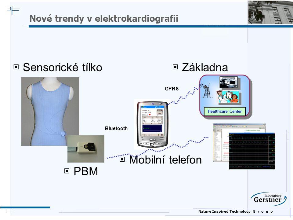 Nature Inspired Technology G r o u p Nové trendy v elektrokardiografii ▣ Sensorické tílko ▣ PBM ▣ Mobilní telefon ▣ Základna Healthcare Center GPRS Bluetooth