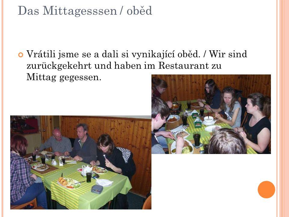 Das Mittagesssen / oběd Vrátili jsme se a dali si vynikající oběd.