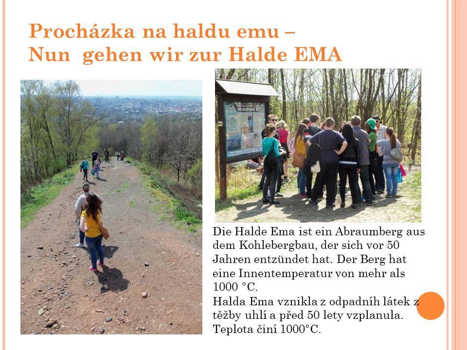 Procházka na haldu emu – Nun gehen wir zur Halde EMA Die Halde Ema ist ein Abraumberg aus dem Kohlebergbau, der sich vor 50 Jahren entzündet hat.