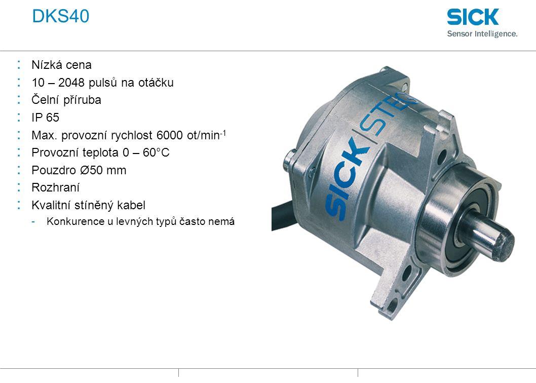 DKS40 : Nízká cena : 10 – 2048 pulsů na otáčku : Čelní příruba : IP 65 : Max.