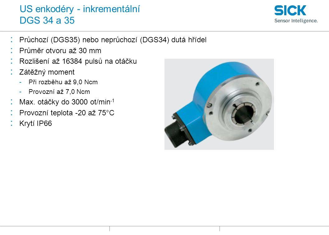 US enkodéry - inkrementální DGS 34 a 35 : Průchozí (DGS35) nebo neprůchozí (DGS34) dutá hřídel : Průměr otvoru až 30 mm : Rozlišení až 16384 pulsů na otáčku : Zátěžný moment -Při rozběhu až 9,0 Ncm -Provozní až 7,0 Ncm : Max.